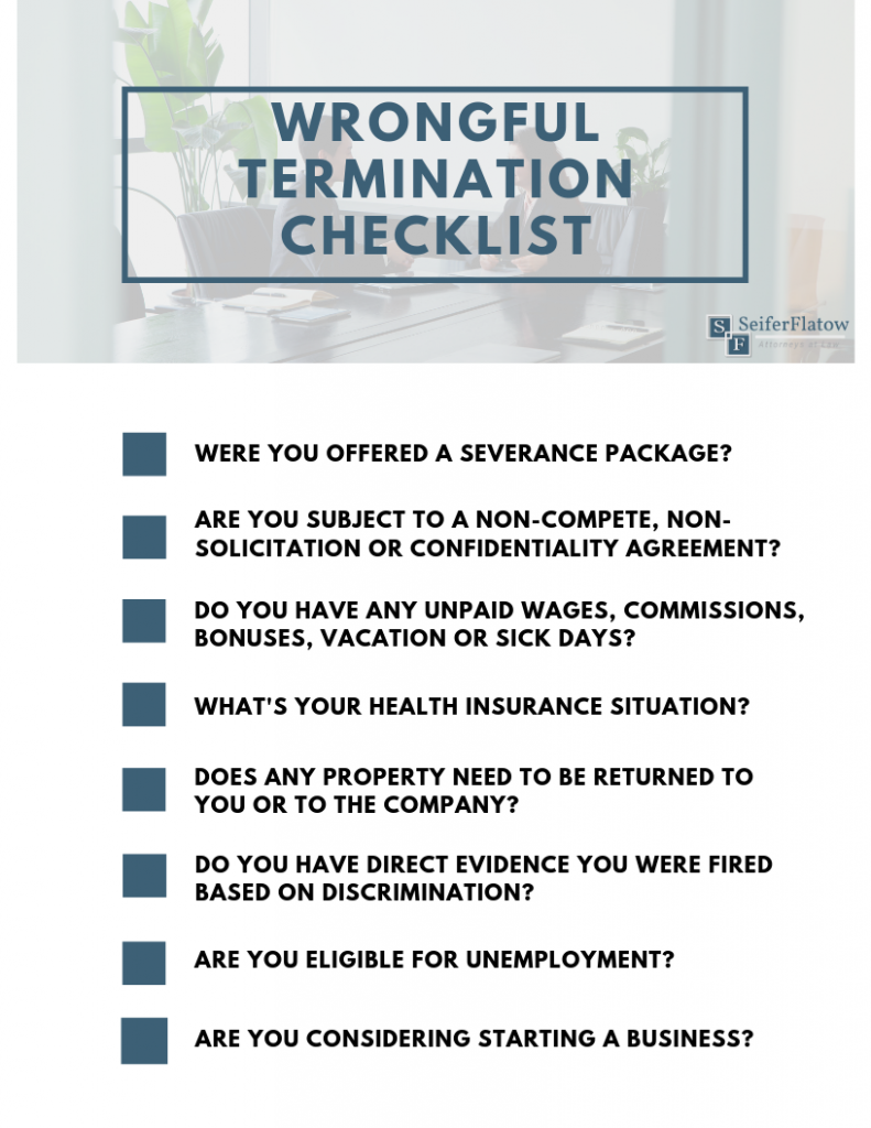 Checklist for Wrongful Termination in NC