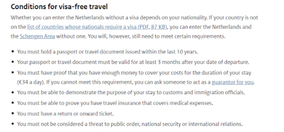 Netherlands Requirements for Entry